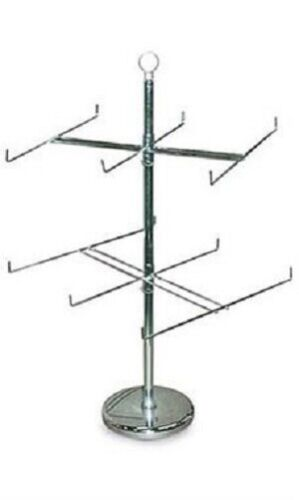 Wire Spinner Rack 2 Tier 12 Peg Rotating Chrome Stand Countertop