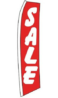 "Wave Flag Sale Sign Retail Advertising 134"" x 32""  Outdoor + Pole Ground Spike"