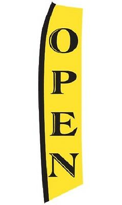 Wave Flag Open Business Sign Retail Advertising 134 X 32 Outdoor Polyester