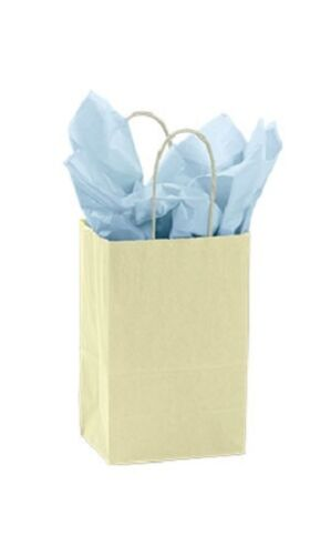Paper Shopping Bags 900 Pale Yellow Merchandise Small Medium Large (300 Each)