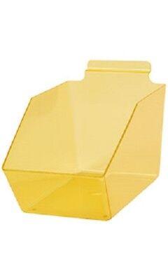 10 Slatwall Bins Dump Acrylic Yellow 9 X 6 W X 5 Plastic Retail Display