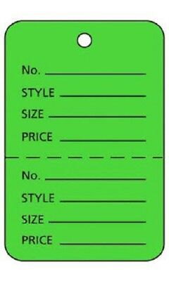 100 Perforated Tags Price Sale 1 X 2 Two Part Green Merchandise Clothing