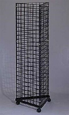 Wire Grid Triangle Tower Display Rack Casters Rolling Castors Black 2 X 5 H