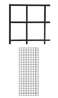 Set Of 2 Gridwall Panels 2 X 5 Grid Wall Display Black Panel Steel Powder Coat