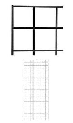 Set Of 2 Gridwall Panels 2 X 5 Grid Wall Display Black Panel Steel Powder Coat