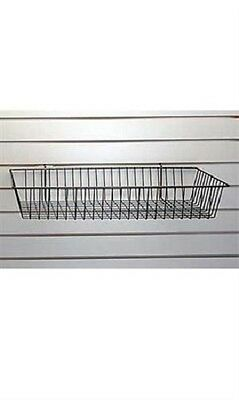 6 Slatwall Wire Baskets Black Grid Slat Wall Pegboard 24 X 12 X 4 Powder Coat