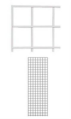 Set Of 2 Gridwall Panels 2 X 6 Grid Wall Display White Panel Steel Powder Coat