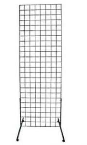 Gridwall Panel 2' x 6' Grid Wall Display Black Steel 2 Legs 3