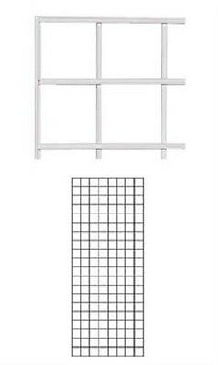 Set Of 2 Gridwall Panels 2 X 5 Grid Wall Display White Panel Steel Powder Coat