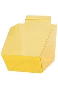 10 Slatwall Bins Dump Acrylic Clear Yellow 7 X 6 X 5 Plastic Retail Display