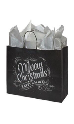 "100 Christmas Chalkboard Paper Shopping Bags 16"" x 6"" x 12 ½"" Retail Merchandise"