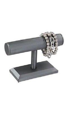 """4 Single Tier T-Bar Bracelet Displays Gray Satin Jewelry Showcase  7 ¼ x 5"""" Grey"""