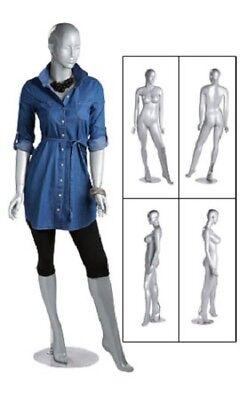 Silver Female Mannequin 36 Bust 26 Waist 33 Hips 510 Full Body Fiberglass