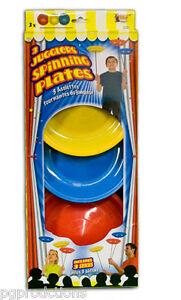 3 JUGGLING SPINNING PLATES SET Plastic Clown Juggle Sticks Balancing Saucer Toy