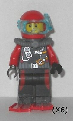 LEGO - Deep Sea Explorers - Scuba Diver, Male w/ Red Flippers (X6) - Minifigures
