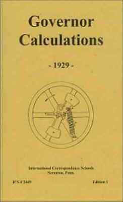 Steam Engine Governor Calculations From 1929 - Reprint