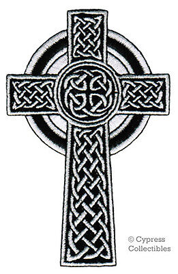 CELTIC CROSS iron-on PATCH embroidered IRISH CHRISTIAN RELIGIOUS EMBLEM JESUS