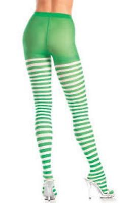 Green & White Striped Pantyhose Tights - Be Wicked BW406 One size 90-160 lbs ](Green White Striped Tights)