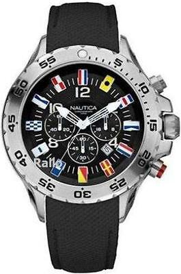 Men's Black Nautica NST Chronograph Flag Watch N16553G (Nautica Sport N16553g)