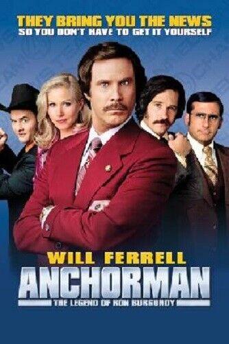 ANCHORMAN Movie Poster Ron Burgundy WILL FERREL 24in x36in