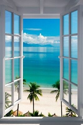 Fenster Poster (Poster Illusion Fenster zum tropischen Palmenstrand 61 x 91,5 cm)