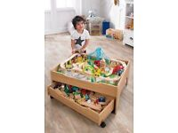 NEW City and Train Table Set wooden blocks cars track