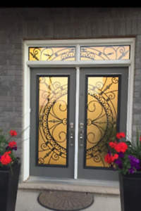 Glass inserts entry doors wrought iron and stained glass