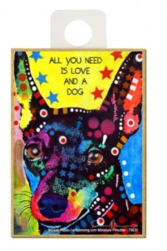 All You Need Is Love And A Dog Min Pin Pop Art NEW Fridge Magnet  2.5x3.5 A60