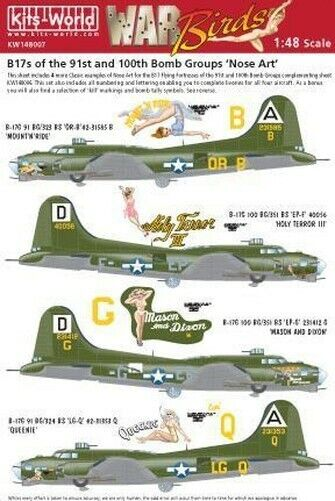 Kits-World 1/48 Boeing B-17G Flying Fortress Nose Art of the 91st and 100th BG #