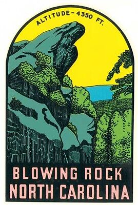 Blowing Rock North Carolina  Vintage  1950's-Style  Travel Decal  Sticker  Label