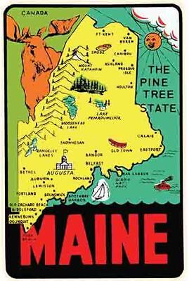 Maine State map   Vintage 1950