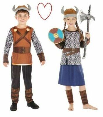 Jungen Mädchen Wikinger Verkleidung Kostüm Büchertag Woche Sächsisch Warrior ()