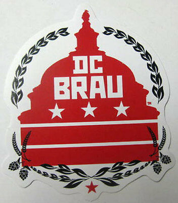 DC BRAU BREWING COMPANY 4in. Beer STICKER w/ Capitol Bldg, Hops WASHINGTON, D.C.