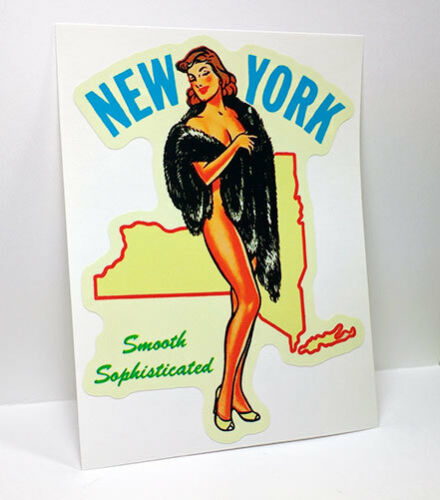 New York State Pinup Vintage Style Travel Decal, Vinyl Sticker,Luggage Label