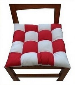 6 coussins galette dessus de chaise damier rouge et blanc ebay. Black Bedroom Furniture Sets. Home Design Ideas