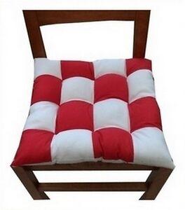 4 coussins galette dessus de chaise damier rouge et blanc - Galette de chaise blanc ...