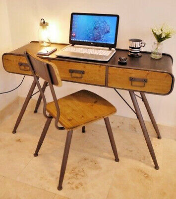 Industrial 3 Drawer Vintage Metal Wood Retro Office Desk Computer Console Table