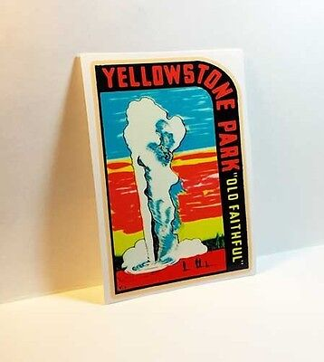 YELLOWSTONE PARK OLD FAITHFUL Vintage Style Travel Decal, Vinyl STICKER, Label
