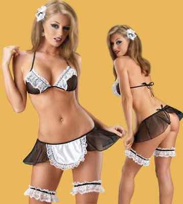 Sexy Hausmädchen Dienstmädchen Outfit Kostüm Dessous 6 teilig 34 36 38 S (Dienstmädchen Outfit)