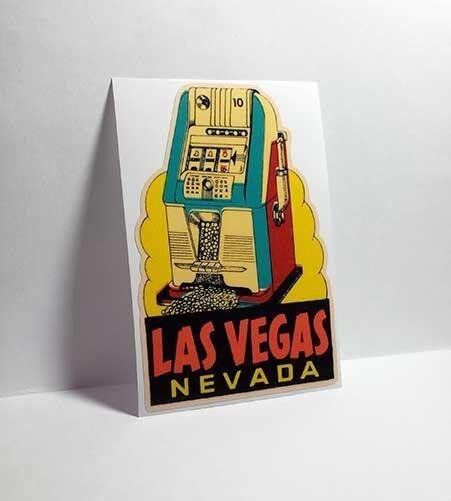 Las Vegas Slot Machine Vintage Style Travel Decal / Vinyl Sticker, Luggage Label