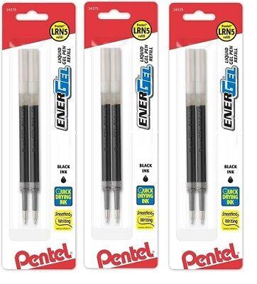 3 Packs - Pentel Energel Pen Refill Metal Tip Liquid Gel Ink Black Extra Fine