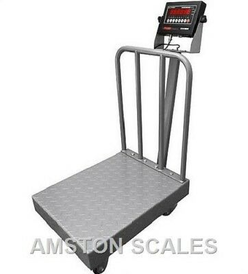 1000 X 0.2 Lb Digital Scale 24x32 Backrail Wheels Shipping Bench Warehouse New