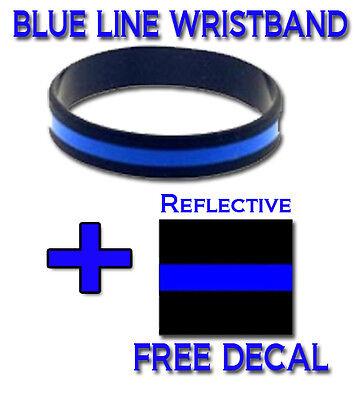 Thin Blue Line - Wristband - Bracelet - Silicone - Police - FREE BONUS DECAL!