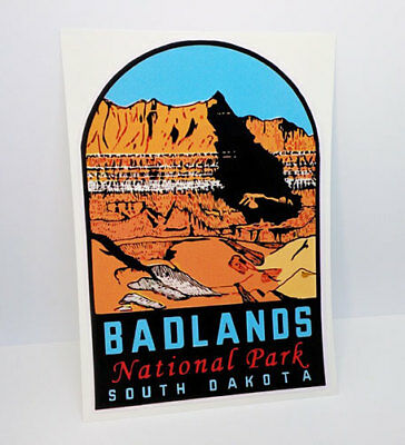 BADLANDS NATIONAL PARK South Dakota Vintage Style Decal / Vinyl Sticker ()