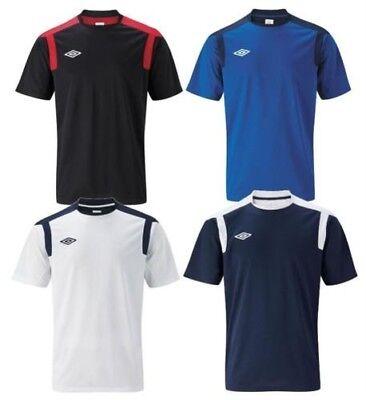 White Training Top T-shirt - New Umbro Mens Training Top T-Shirt Sz L XL 2XL White Black Blue gym sports