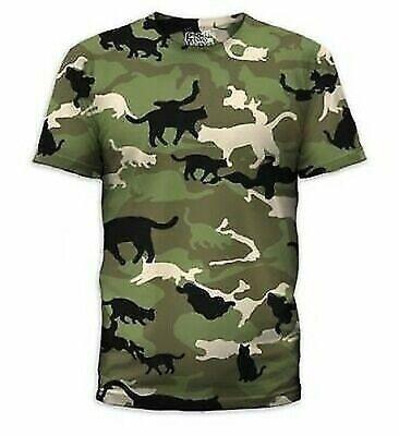 Catmouflage Katzen Tarnfarbe Armee Kitty Kostüm Herren T-Shirt Hemd S-2XL (Katze Kostüm Männlich)