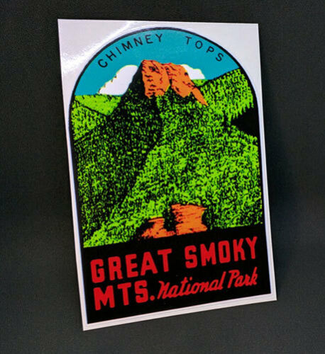 Great Smoky Mountains National Park Vintage Style Travel Decal, Vinyl Sticker