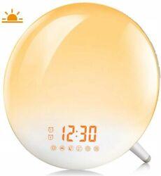 Sunrise Alarm Clock Wake Up Light Dual Alarm 7 Nature Sounds & Light Colors
