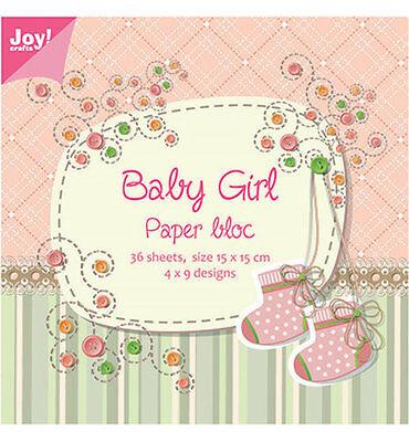 Motivpapier -  Baby Girl  - 36 Bögen / 9 Designs  15x15 cm  JoyCrafts