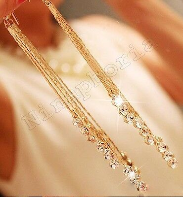 GOLD SPARKLE MULTI STRAND LONG Tassel Dangle Crystal RHINESTONE DROP - Gold Sparkle